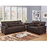 Furny Arria 5 Seater Fabric 3+2 Sofa Set (Dark Brown)