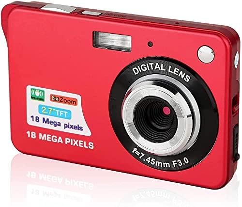 CamKing - Fotocamera digitale digitale da 2,7 pollici, 18 MP HD, per viaggi in spalla, mini fotocamere digitali con zoom e fotocamera compatta per fotografia (rosso)