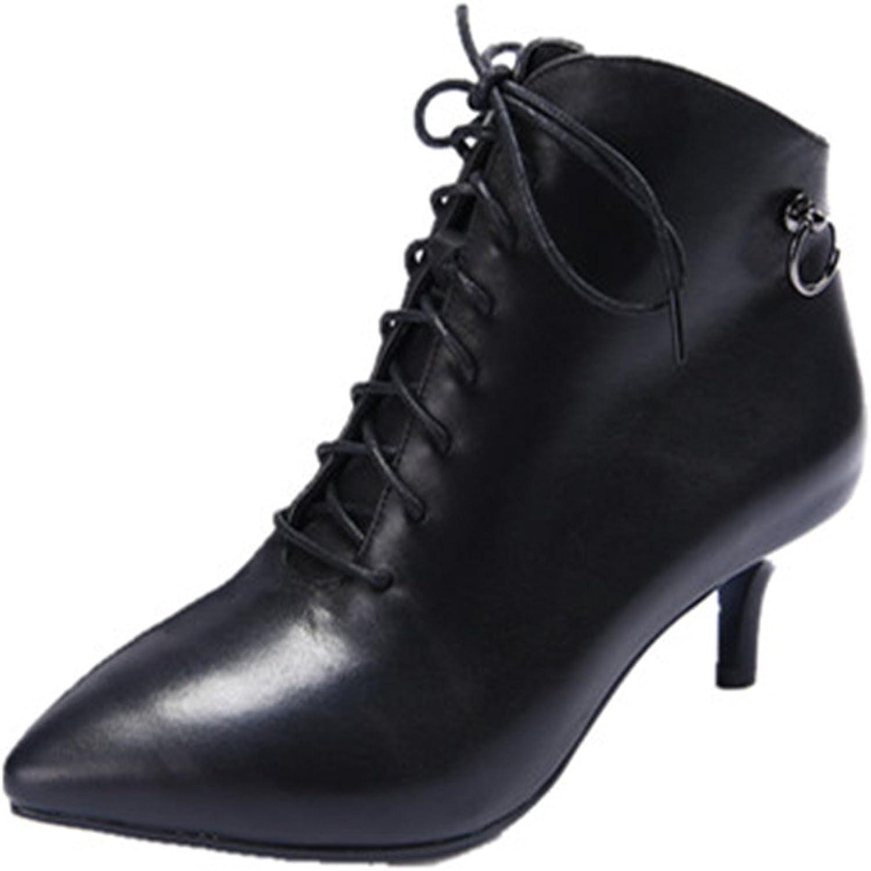 Nio Sju äkta läderspetsiga kvinnors spetsiga tå Stiletto Heel Heel Heel Zipper Handgjorda Lace Up Ankle stövlar  2018 senaste