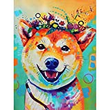 DIY 5D Diamond Painting for Adults,Perro sonriente Full Drill Diamond Painting by Numbers Kits Large Embroidery Cross Stitch Rhinestone Diamond Art Crafts for Home Wall Decor Gifts-45x60cm/18x24in