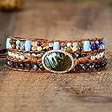 Nouvelles Femmes Charme Bracelets Femme Pierres colorées Labradorite 3 Couches Vegan Wrap Bracelets Multicouches Bracelet de Perles Multicouches Bijoux Fantaisie Cadeaux de Noël spéciaux