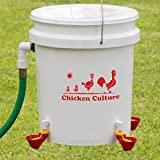 Automatic Chicken Waterer Kit (Bucket NOT Included) - New Version Cups (from Holland) - Auto Float Valve (Made in USA) (4 Cups)