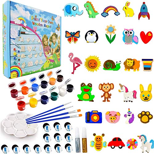CHOKMAX 30pcs Fridge Wooden Magnets Craft and Art Painting Kit Supplies for Kids Best DIY Creativity Gifts Party Favors for Boys and Girls Age 4-8