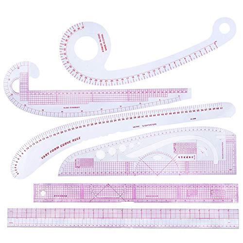 6 unids Curva Kit de Regla métrica Medida MULTIPLINA Medida COSTANDO COSTANDO RÁPIENTE Patrón de Costura Patrón de Costura Ropa Multifunción Plástico de plástico Reglas (Color : CZ 15)
