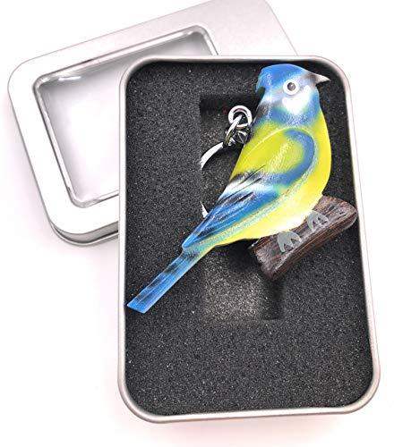 Onwomania Schlüsselanhänger Holz Vogel Papagei Wellensittich blau grün Zuchtvogel Kanarienvogel Anhänger in Geschenkbox