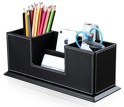 KINGFOM Desktop Leather Storage Box 4 Divided Compartments for Pen/Business Card/Remote Control/Mobile Phone/Office Supplies Holder Collection nero