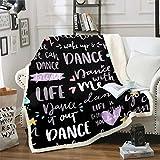 Feelyou Hippie Graffiti Fuzzy Sherpa Blanket Dance Life Fleece Throw Blanket Soft Cozy Fluffy Plush Blanket for Girls 50'X60'