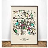 Ámsterdam, Anaheim, Anchorage, Andorra la Vella, Ankara, Antalya, coloridos mapas de la ciudad Cartel Lienzo Impresión Arte de la pared Decoración para el hogar -50x75cm Sin marco