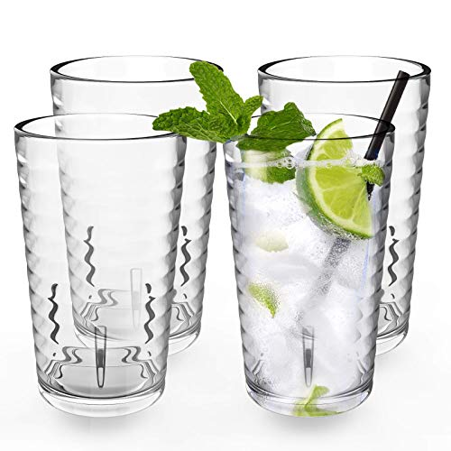 ALIMOTA Plastic Tumblers Cups, [UNBREAKABLE Acrylic] Plastic Water Tumbler Drinking Glasses, 12-Ounce Set of 4, Shatter-Proof, Dishwasher Safe, BPA Free, Reusable Cups for Water, Juice, Cocktail, Wine