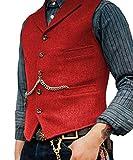 Lovee Tux Chaleco de espiga de los hombres Foraml Negocios Muesca Solapa Traje Chaleco de lana/Tweed Chaleco para boda - rojo - X-Large