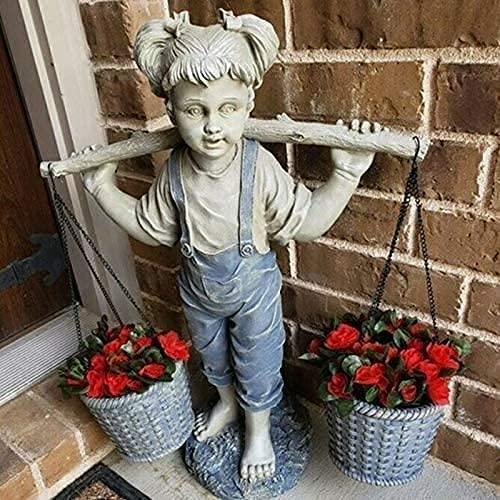 YAOUFBZ Esculturas de jardín de Creatividad,estatuas de jardín de niña pequeña,estatuilla para decoración de jardín Interior al Aire Libre Adornos de Escultura