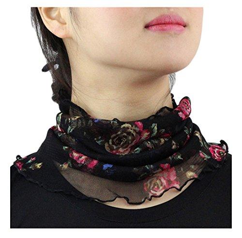 UK_Stone Damen 100% Mulberry Seide Schlauchschal Loop Halstuch Schwarz Rot Blumen Muster Abnehmbar Faux Kragen (#6)