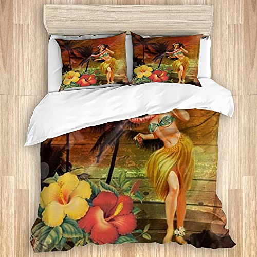 SIONOLY SALINR Washed Cotton Duvet Cover Set,Passion Flower Hawaii Hula Dancer,3 Pieces Luxury Soft Bedding Set Queen Size(No Comforter)