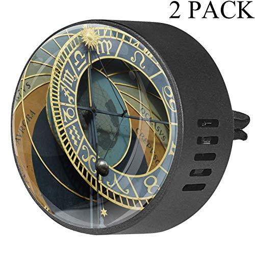 DragonSwordlinsu Astronomische Klok Praag Auto Diffuser Aromatherapie Etherische Olie Diffuser Vent Clip Luchtverfrisser, 2 STKS Ocean Breeze-4x1.6x2.1 cm Meerkleurig