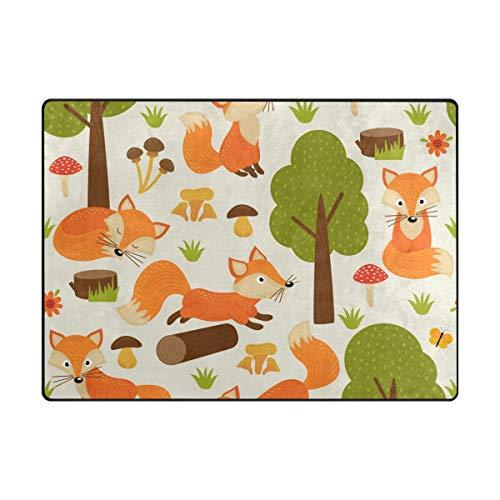 Orediy Weiche Teppiche niedliche Füchse Baum leichter Bereich Teppich Kinder Spielmatte Rutschfest Yoga Kinderzimmer Teppich für Wohnzimmer Schlafzimmer, Schaumstoff, multi, 160 x 122 CM