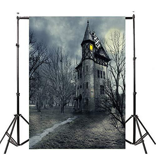 Deloito Halloween Hintergründe Kürbis Vinyl 3x5FT Laterne Wandtattoo Hintergrund Fotografie Studio Wandaufkleber (D, 90cm*150cm)
