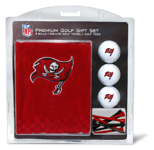 Team Golf NFL Tampa Bay Buccaneers Gift Set Embroidered Golf Towel, 3 Golf Balls, and 14 Golf Tees 2-3/4' Regulation, Tri-Fold Towel 16' x 22' & 100% Cotton