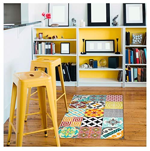 Ambiance-Live Carp-Ros-tilesBrightMix Pared Adhesivo, Vinilo, Multicolor, 60 x 100 cm
