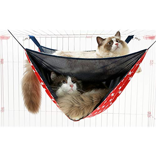 XDYFF Hängematte für Katzen Schlafplatz für Kleintiere Hängendes Bett Atmungsaktives Netzgewebe-Doppelkatze-Hängematten-Nestmatte für Small Animal Puppy Cage Hammock