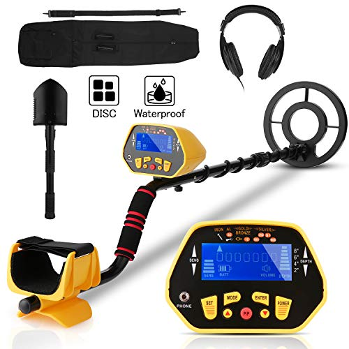Sailnovo Professional Metal Detector for Adults & Kids, High Accuracy Adjustable Waterproof Metal Detector with LCD Display, All Metal &Discrimination & Pinpoint Mode, 8.7 Inch Lightweight Search Coil