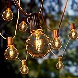 Albrillo Guirnalda Luces para Exteriores - 10M Cadena de Luz con 27 Bombillas G40 Blanca Cálida y 5 Repuestos, Impearmeable IP44, Decoración Interior y Exterior para Jardín Patio Navidad, Base E12