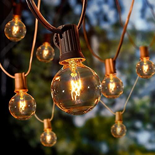 Albrillo Guirnalda Luces para Exteriores - 10M Cadena de Luz con 27 Bombillas G40 Blanca Cálida y 5 Repuestos, Impearmeable IP44, Decoración Interior y Exterior para Jardín Patio Navidad, Base