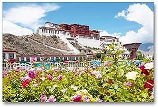 Calvendo Premium Lienzo 90 cm x 60 cm Horizontal, Precioso floreciente jardín de Rosas Delante del poderoso Palacio Potala, Imagen sobre Bastidor, Imagen premontada Potala-Palast, Lhasa, Tibet Orte