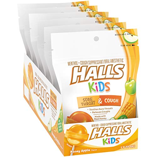 Halls Kids Sore Throat & Cough Pops, Honey Apple, 10 individually wrapped pops per bag, Pack of 6