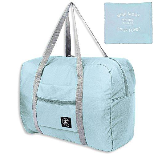 Unova Folding Travel Duffel Bag Packable Light Nylon Water Resistant Tote Weekend Getaway Overnight Carry-on Shoulder (Mint Green)