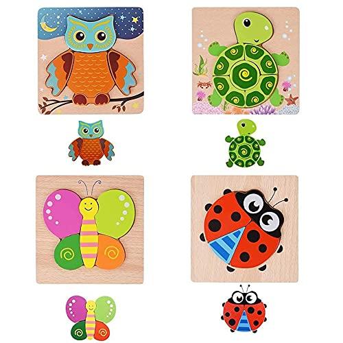 木製のパズル パズル おもちゃ 木製 ジグソー マッチング 積み木形合わせ 積み木 知育パズル 幼児用木製ジグソー 4種類 4psc 動物 知育玩具 学習玩具 モンテッソーリ 教育おもちゃ 人気 子供 赤ちゃん 積み木 出産祝い お誕生日プレゼン