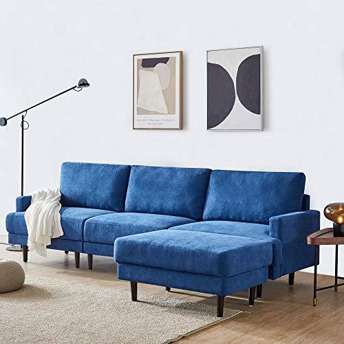 Ecksofa Eck Couch L-Sofa Wohnzimmercouch Sofa Couch Wohnzimmersofa Schlafsofa mit großen Rücken-Kissen Polstersofa mit Longchair im modernen Look (blau)