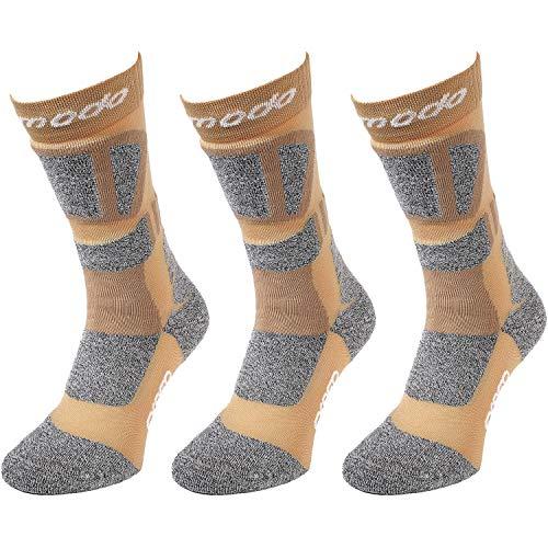 Comodo - Trekkingsocken Herren & Damen rutschfest, 3 Paar Wandersocken für Sommer & Winter, Wander Socken mit Polsterung, Strümpfe atmungsaktiv, antibakteriell, antiblasen STT gr 43-46 Sand braun