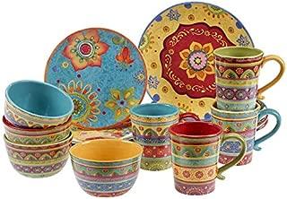 Vibrant, Beautiful, Colorful 100% Ceramic 16-pc Dinnerware Set by Tunisian Sunset