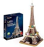 LED Eiffel Tower Modelo 3D Puzzle DIY Toy Craft Kit de souvenir decoración de cumpleaños Rompecabezas infantil El juego de rompecabezas para niños es adecuado para niños mayores de 10 años (84pcs)