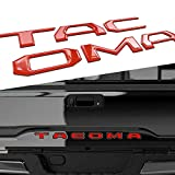 Tacoma Tailgate Letters Auto safety Tailgate Insert Letters for Toyota Tacoma 2016 2017 2018 2019 2020 3D Raised  Rear Emblem Decals with seccotine (Red)