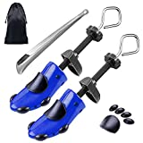 Shoe Stretcher Women Shoe Tree Widener, Pair of 4-way Adjustable Expander Stretch Length Width Height, Tough Plastic & Metal, 8 Bunion Plugs Included, Blue for Men's Shoes Size US 6.5-9