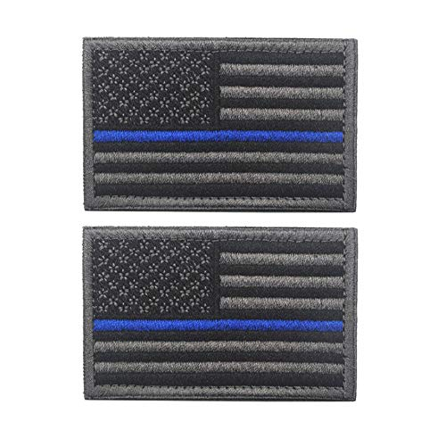 American Flag Patch, Tactical Military Flag Patches, American Military Flag Emblem Patch. (Black Gray-Blue Thin)