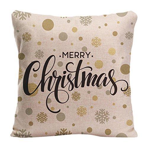 Funda de Almohada Cuadrada para Silla de sofá, Funda de cojín Decorativa, diseño de Funda de Almohada con Letras Doradas Brillantes de Feliz Navidad, Funda de Almohada Personalizada para sofá