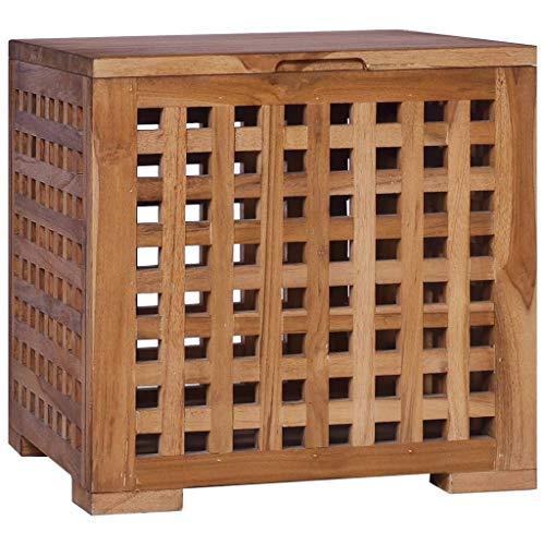 vidaXL Teak Massiv Box für Seil Aufbewahrungsbox Holzkiste Holztruhe Holzbox Truhe Bank Holzbank Sitzbank Truhenbank Aufbewahrungstruhe 40x40x40cm