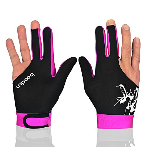 Anser M050912 Man Woman Elastic Lycra 3 Fingers Show Gloves for Billiard Shooters Carom Pool Snooker Cue Sport - Wear on The Right or Left Hand 1PCS (Pink, M)