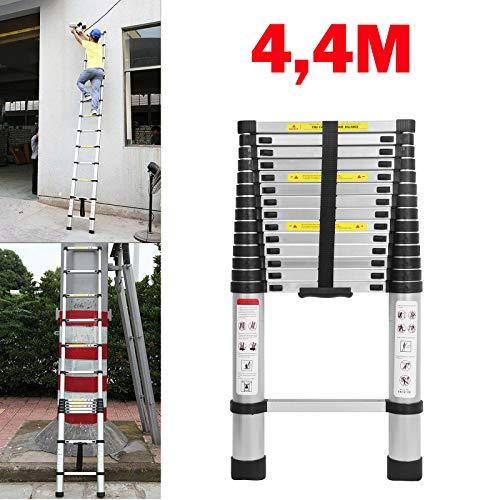 Preisvergleich Produktbild Teleskopleiter Aluleiter 4, 4M Klappleiter Ausziehleiter Stehleiter Mehrzweckleiter Rutschfester Tragbar Leichte Leiter faltbare,  gerade Leiter 150 kg Tragfähigkeit EN131-Zertifizierung