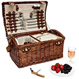 Juvale Large Wicker Picnic Basket with Utensils Serves 4 (18 x 12 x 10 Inches, Brown)