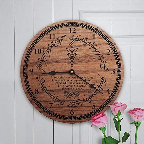 Reloj de pared redondo de madera con el nombre personalizado y fecha personalizada I would Rar Arwen evenstar12 pulgadas redondo de madera colgante para la sala de estar, cocina, Be
