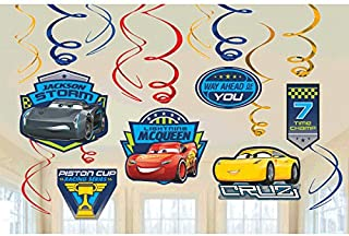 Disney Cars 3 Lighning McQueen Party Foil Hanging Swirl Decorations / Spiral Ornaments (12 PCS)- Party Supply, Party Decorations