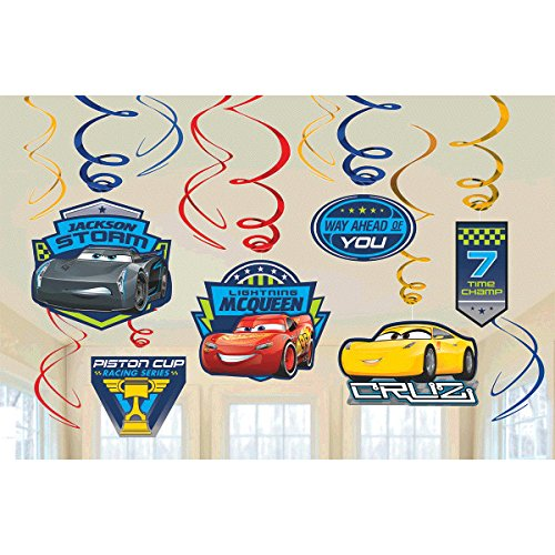 Disney Cars 3 Lighning McQueen Party Foil Hanging Swirl Decorations/Spiral Ornaments (12 PCS)- Party Supply, Party Decorations