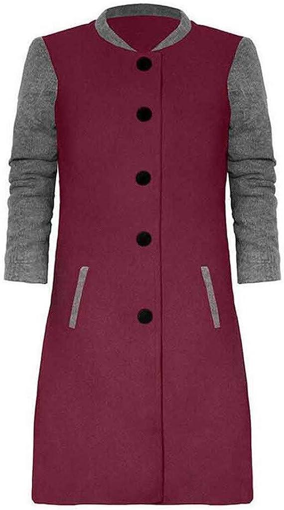 KIMODO Strickjacke Damen Langarm Farbblock Mantel Lässige Reißverschluss Taschen Mittellanger Mantel Top Dünne Skinsuits mit Kapuze Slim Coat Rot