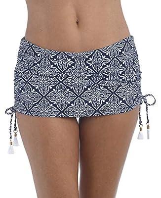 La Blanca Women's Skirted Ruffle Hipster Bikini Swimsuit Bottom, Indigo//Mandala Dream, 12