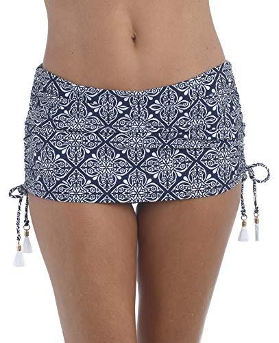 La Blanca Women's Skirted Ruffle Hipster Bikini Swimsuit Bottom, Indigo//Mandala Dream, 10