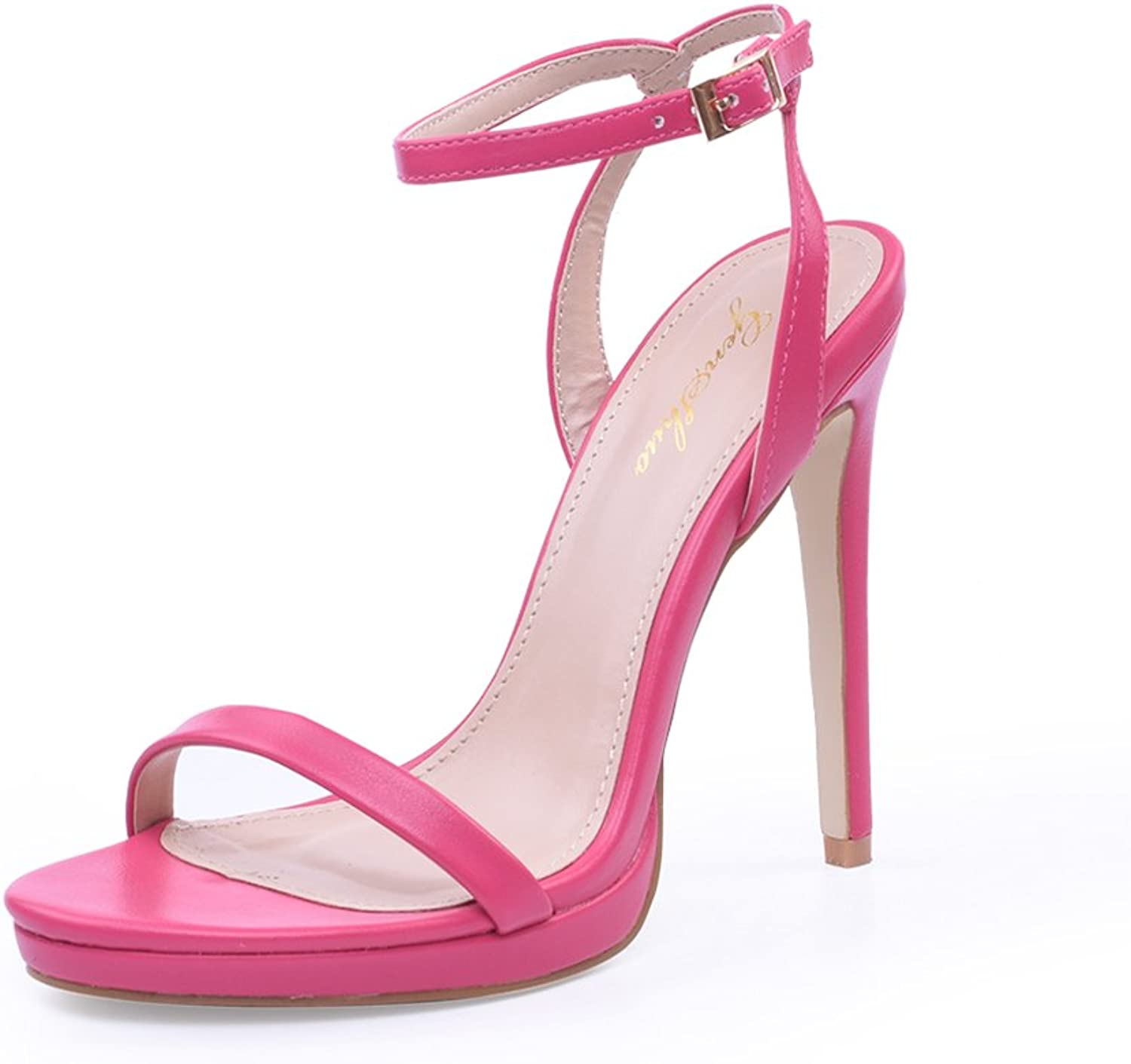 Womens Sandals Comfortable Soft Sexy Buckle Ankle Strap Stiletto Heeled Sandal