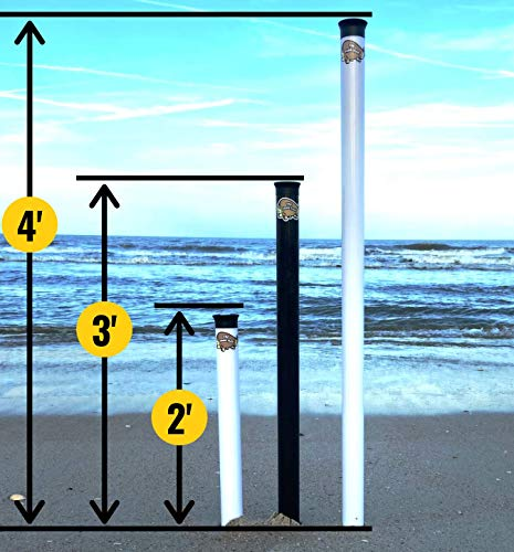 Sand Flea Surf Fishing Rod Holder Beach Sand Spike. 2, 3 or 4 Foot Lengths. Made from Impact and UV Resistant PVC. 100% USA Made. (White, 2)